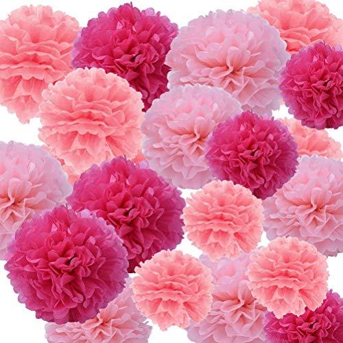 npapier Pom Pom Blumen Ball für Hochzeit, Geburtstag, PARTY, Baby-Dusche und Outdoor Dekoration rose ()