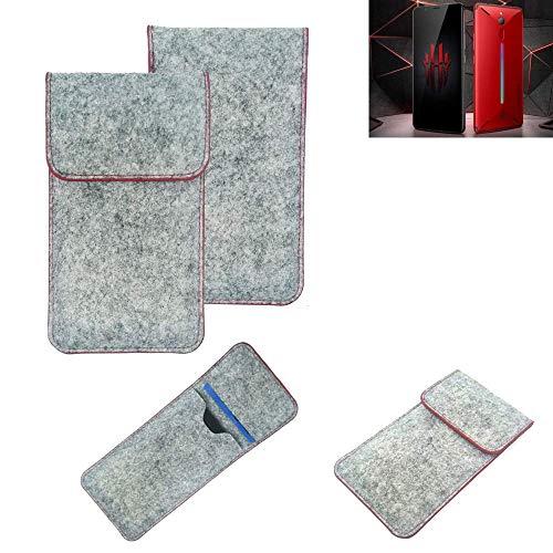 K-S-Trade® Filz Schutz Hülle Für Nubia Red Magic Mars Schutzhülle Filztasche Pouch Tasche Case Sleeve Handyhülle Filzhülle Hellgrau Roter Rand