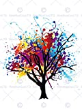 12 X 16 INCH / 30 X 40 CMS PAINT SPLAT ABSTRACT TREE RAINBOW PHOTO FINE ART PRINT POSTER HOME DECOR PICTURE Dipingere Astratto Albero Pioggia FOTO Stampa artistica Manifesto Casa Immagine