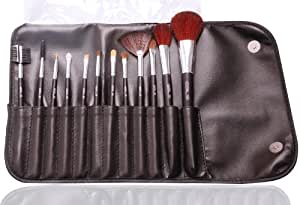 Set / Kit de pinceaux cosmétiques de maquillage professionnel par Gals: étui élégant de 12 pinceaux / brosses pour réaliser vos fard à paupière / eyeshadow, blush, eyeliner, etc..