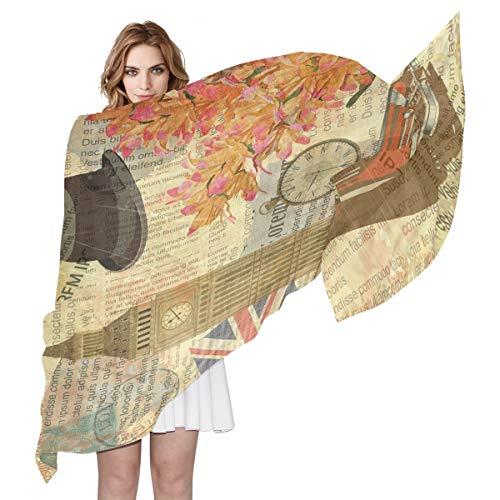 aus Seide, Vintage-Design mit Big Ben England-Flagge, leicht, lang, weich, Chiffon, Schal für Damen und Mädchen ()