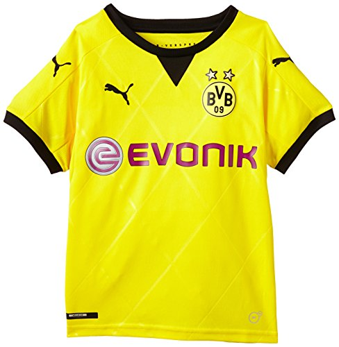 PUMA Kinder Trikot BVB Ambassador Replica Shirt, Cyber Yellow, Black, 176