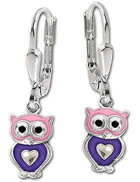 CLEVER SCHMUCK Silberne Ohrhänger 24 mm mit kleiner Eule 7 mm rosa violett lackiert mit Mini Herz glänzend glänzend...