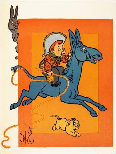 Posterlounge Holzbild 120 x 160 cm: EIN junger Cowboy, der EIN Maultier reitet von Percy Alexander Leason/Bridgeman Images