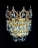 Königliche Kristall Kronleuchter Wandlampen mit kleinen Krönchen aus verschieden Epochen wie Barock, Empire, Art Deco & Jugendstil. Echtes Kristall. Abbildung in Goldfarben.