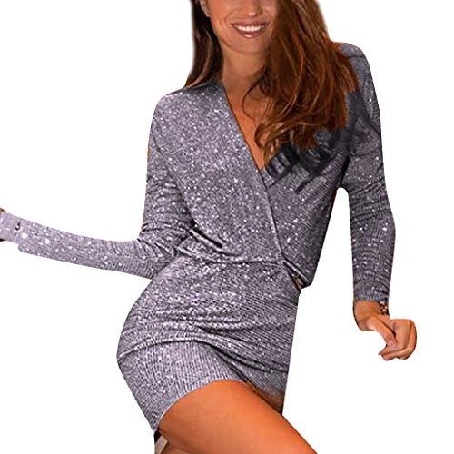Beikoard Frauen Bodycon Kleider Flapper Party Club Kleid Abendkleider Sexy Tiefem V-Ausschnitt Cocktailkleid Glänzend Hoch Maxikleider für Hochzeit ()