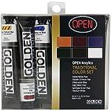 Golden open tradicional de pintura acrílica color Set
