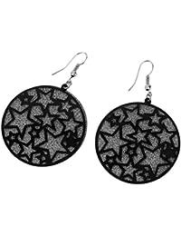1 par con estilo galvanoplastia redondo redondo de metal de cinco puntas pendientes de estrella para mujeres accesorios de fiesta - negro
