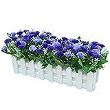 Flikool Carnations Fleurs Artificielles avec Clôture Truqué Plantes Artificielles in Pot Simulation Potted Bonsai Faux Floral Artificiels Balcon Maison Ornements de Décoration - Bleu