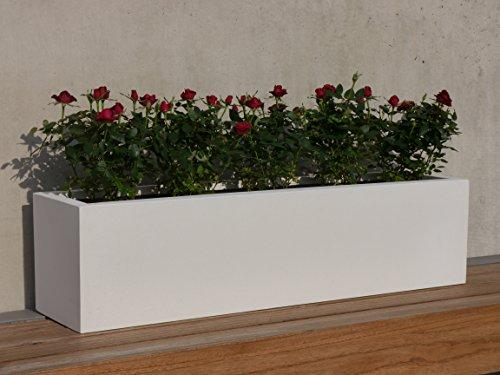 Pflanztrog FINO aus Fiberglas, Pflanzkübel, Blumenkübel (L100x B25x H25cm, perlweiß)
