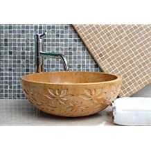 Capstona Floral Gold Yellow Stone Wash Basin Yellow Marble Sink
