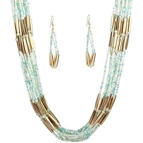 nero goccia di resina acrilica elegante perla pendente collana collare a catena robusta