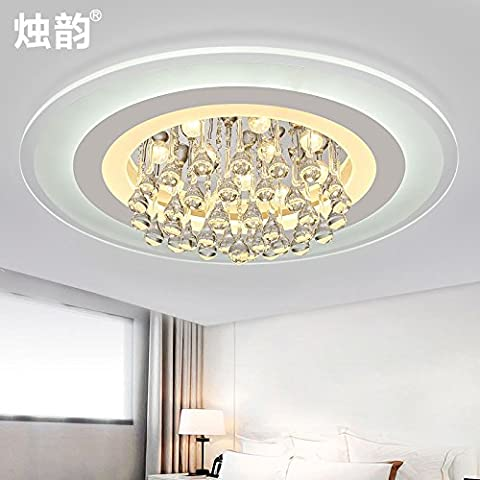 Ooccasion Creative Living Room Lampada Led Cristallo Luce A Soffitto Atmosfera Minimalista Moderno Ultra-Thin Round (Peltro Spazzolato Due Luce)