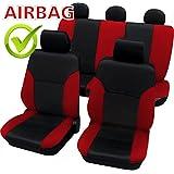 kmhsb103–Asiento Puf Set Negro/Rojo de asiento con airbag páginas para Peugeot 307, 308, 406, 407, 607, 308, 508