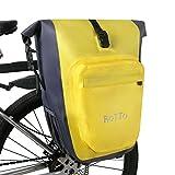 ROTTO Borsa per Bicicletta Impermeabile Borsa Bici Posteriore, con sgancio rapido, capienza 27 Litri (B-Giallo-Singolo)