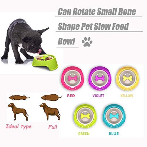 Huaaag Pet Bowl, Rotante Piccola Forma Ossea Pet Slow Food Bowl, Ciotola di Cibo Lento, Gattino Cucciolo di Alimentazione Ciotola d'Acqua (Colori Multipli),Purple