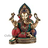 Collectible India Tall Large Ganesha Statue Brass with Turquiose Ganesh Idol Sculpture Elephant God Figurine