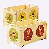 Dida - I Pancotti - panca portagiochi in legno - contenitore base con 4 ruote + coperchio - decoro: scoiattoli, cerbiatti e cervi