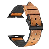 Compatible with Apple Watch Band 42mm 44mm, Sweatproof Genuine Leather and Rubber Hybrid Band Strap Compatible with iWatch Series 4 44mm Series 3 Series 2 Series 1 42mm, Light Brown
