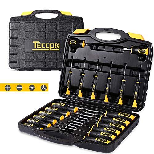 Schraubendrehersatz, TECCPO 20-teiliger Schraubendreher-Werkzeugsatz mit Werkzeugkasten, 6150CRV, Präzisions-Schlitz- / Kreuzschlitz- / Torx-Schraubendreher mit schweren Magnetspitzen-THTC03