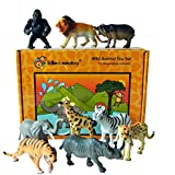 Safari animal toy plastic figures - set of 9 boxed