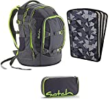satch by Ergobag Phantom 3-teiliges Set Rucksack, Schlamperbox & Heftebox Schwarz