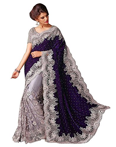 Fashion Dream Women\'s Velvet & Net Saree (Blue Velvet GPO%%__Grey_Free Size)