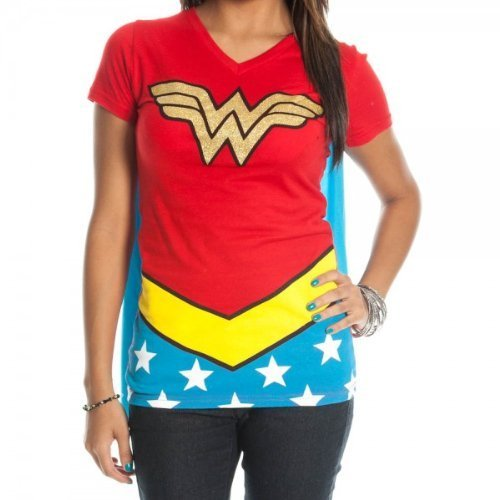 Dc Comics Wonder Woman Glitter Junioren Rot V-Neck Cape T-Shirt | M (Wonder T-shirt Cape Und Woman)