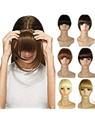 Frange a Clip Postiche Extension de Cheveux Lisse - Clips in Hair Bang Fringe Hair Extensions - Marron Foncé