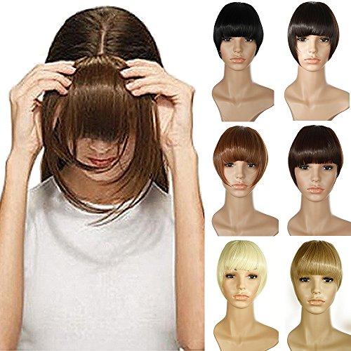 Frangia clip finta capelli extension frangetta fascia unica corti hair bang fringe hairpiece, marrone scuro