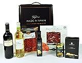 """Tapas Made in Spain 1 - L'esclusivo assortimento che raccoglie il meglio della gastronomia della Spagna - 1 bottiglia di vino rosso D.O. Rioja Crianza, 1 bottiglia di vino bianco D.O. Rueda, 1 impasto iberico di Jamón (a fette), 1 impacco al Chorizo Ibérico (affettato), 1 bottiglia di olio extravergine di oliva, 1 olive ripiene di acciughe, 1 bastoncini di pane Regañás fatti con olio extravergine - Tapas Made in Spain - """"La cosa migliore su Tapas, è di condividerli """""""