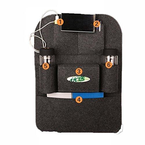 Styleys Convenient Backseat Storage Bag Functional Organizer 6 Pocket Automotive Car Back Seat Organizer (Black)