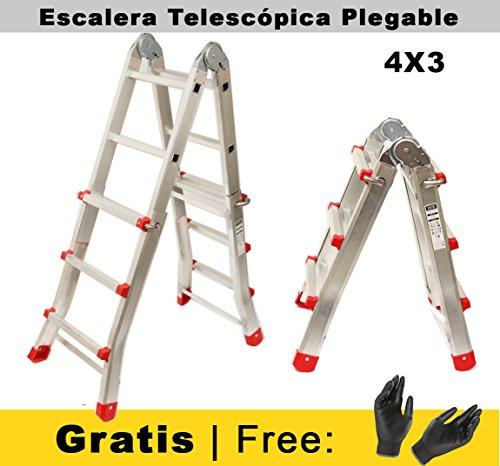 Scala pieghevole articolata telescopica 3+2 in 2 sezioni professionali in alluminio. (fino a 10 passaggi)