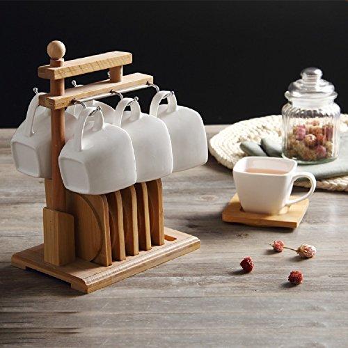 KHSKX Kaffee Tasse und Untertasse Sets mit Holz Regal mit einfachen, weißen Porzellan Untertasse home Besuch am Nachmittag Kaffee Tee Set aus Keramik Untertasse Regale