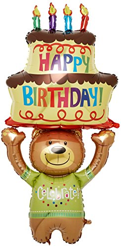 Burton & Burton Teddy Bär & Cake Form 152,4cm Geburtstag Party Mylar Folie Balloon- Feiern (Teddy Bär Form)