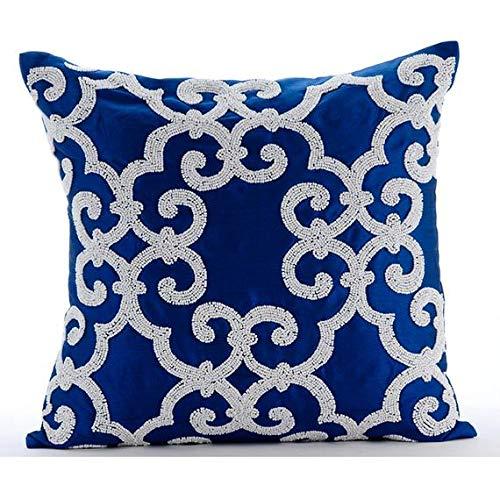 Entwerfer Blau Akzent Kissen, Arabisch-Muster Beaded Kissen Decken, 40x40 cm Kissenbezüge, Platz Seide Kissenbezug, Blumen Zeitgenössisch Kissenbezüge - Royal Arabic -