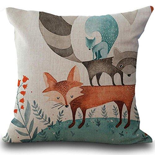 Cushion Cover, Manadlian 2017 New Cute Fox Print Sofa Bed Home Decoration Pillow Case Square Back Cushion Cover (45 *45cm, Fox 4)