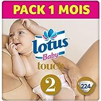 Lotus BabyTouch - Couche Taille 2 (3-6 kg/NouveauNé) Pack 1 mois (224 couches)