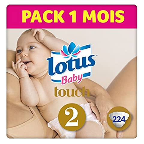 LOTUS BABY TOUCH – Couches Taille 2 (3-6 kg/Nouveau-Né) - lot de 4 packs de 56 couches (x224 couches)