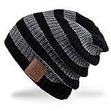 Rotibox Bluetooth Beanie sombrero Música Cap con inalámbricos Auriculares Eliminación de altavoces Mic manos libres Regalos de Navidad - Negro