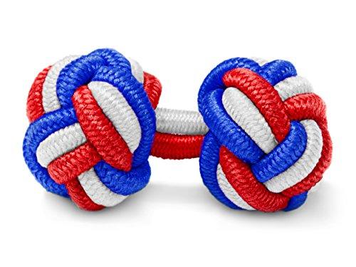 THE SUITS CREW Manschettenknöpfe Seidenknoten Herren Damen Nylon Stoff | Cufflinks Silk Knots für alle Umschlagmanschetten Hemden | Dreifarbig ()
