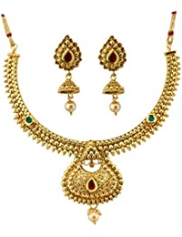 Jewels Galaxy Custom Design Multicolor Gold Plated Ravishing Necklace Set With Earrings For Women/Girls