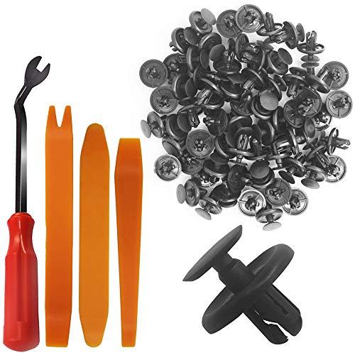 Preisvergleich Produktbild YuCool 100 Stück Push-Type Retainer,  Lexus & Toyota 90467-07201 Nietenhalter-Verschluss,  Stoßstangen-Pin,  Schwarze Kunststoff-Klammern mit Kunststoff-Verschluss,  Entferner + 3 Demontagewerkzeug