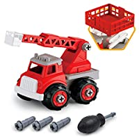 GizmoVine Take Apart Toy Car, Construction Fire Engine Truck toy Kit For Kids Build Own Vehicles for Toddlers & Kids 2-6 Years Old