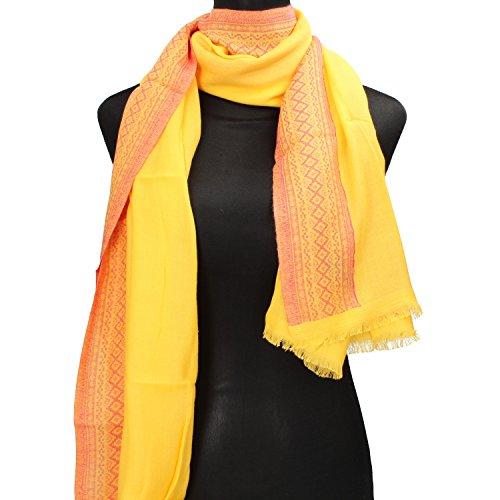 NALì sciarpa pashmina donna arancione giallo cotone (Giallo)