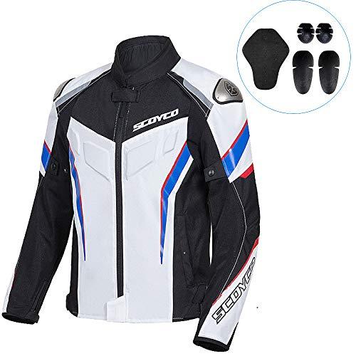 nnn Giacca Moto Uomo Attrezzatura Protezione Impermeabile Traspirante Giacca Motocicletta,White-M