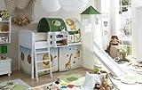 Ticaa Hochbett mit Rutsche und Turm Spielbett Ekki Landhaus Kiefer massiv Weiss mit Farbauswahl, Vorhangstoff:Safari