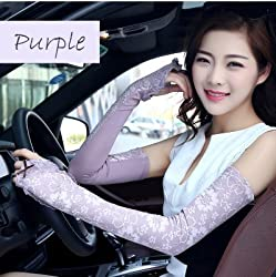 New Akira 58cm Long Summer Lace Sun Gloves Fingerless Gloves Anti-UV Sunscreen Protection (Purple)