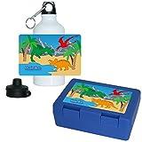 Eurofoto Brotdose + Trinkflasche Set mit Namen Maximilian und schönem Dinosaurier-Motiv für Jungen | Frühstücks-Set für Schule und Kindergarten | Aluminium-Trinkflasche | Lunchbox | Vesper-Box