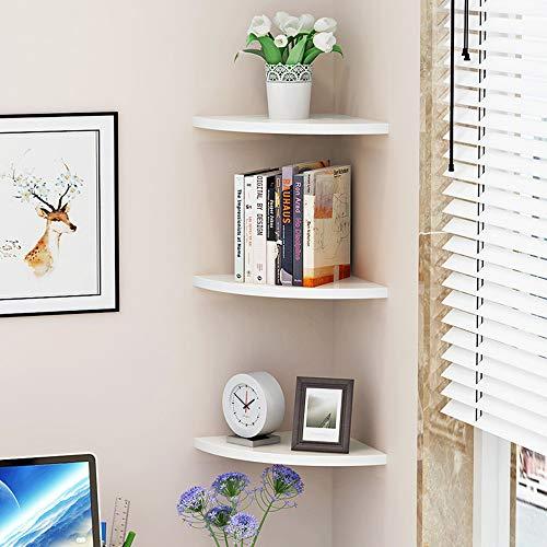 Baffect 3 Tier Corner Schwimmregal, 26cm Holz-Eckregal-Kit Wandmontage schwebende Regale Regale Regalständer für Schlafzimmer Wohnzimmer Badezimmer Büro Home Decor (L) (3-tier-regal)